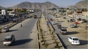 This new major highway in Kabul has been completed in 2011.  Many current US projects and future contracts are delayed, behind the schedule, or have not been awarded to contractors. Associated Press.