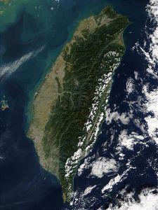 Satellite picture of Taiwan Photo Credit: Jeff Schmaltz via Wikimedia Commons