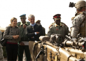 Interest in the AFRICOM's mission is visible at the highest echelons of the U.S. Government.  Here, the current U.S. Ambassador to Botswana, Michelle D. Gavin and the Secretary of the Army John McHugh visit U.S. Special Operations Forces in Botswana.