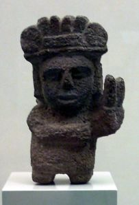 Stone sculpture of an Aztec maize deity Photo Credit: Simon Burchell via Wikimedia Commons