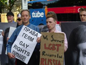 Protest against Russia's Banning of Moscow's Gay Pride Photo Credit: Peter Gray via Wikimedia Commons