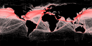 Shipping Routes of the World  Photo Credit: Grolltech via Wikimedia Commons