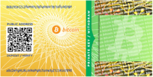 While Bitcoin is virtual currency, it also exists on paper and in coins.  Here, we have an example of a bitcoin paper bill.  Its private key is hidden beneath tamper resistant paper.  It is possible that in the future many national currencies will look the same.  Courtesy of http://www.wikipedia.com