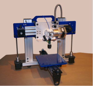 3D printers do not look like traditional printers.  They also do not use paper.  Here is an example of an early 3D printer, ORDbot Quantum.  This printer comes with a kit and its estimated price is about $300.  Courtesy of http:// http://en.wikipedia.org