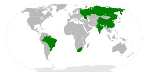 Map of BRICS countries