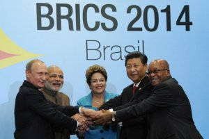 BRICS Leaders at 6th Annual Meeting: President of Russia Vladmir Putin; Prime Minister of India Narendra Modi; President of Brazil Dilma Rousseff; President of China Xi Jinping; and President of South Africa Jacob Zuma Photo Credit: Powerplant786 via Wikimedia Commons