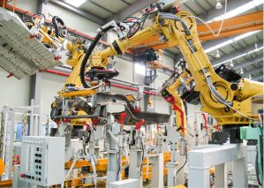 One industry partially exempted from the agreement is the automobile industry. While Ukraine has been a major purchaser of automobiles from the EU, it wants to protect its own domestic automobile industry at least in the first stage of the agreement.  Here, you can see an industrial robot at work in one of the Ukrainian automobile plants in Zaporizhia.  Courtesy of http://en.wikipedia.org.