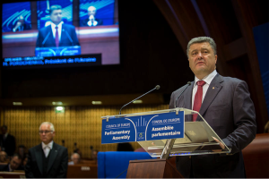 The newly elected President of Ukraine, Petro Poroshenko.  Here, in June 2014, he is addressing the Council of Europe in Strasbourg, during one of his first international visits following his election.  He has declared that the new EU-Ukraine trade agreement is one of the most important documents since the independence of Ukraine in 1991.   Courtesy of http:// http://en.wikipedia.org