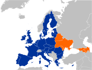 Recently the European Union signed new international trade agreements with Ukraine, Moldova and Georgia.  These three States have been previously included in the EU's Eastern Partnership program, as shown on the map here.  The agreements reduce international trade barriers between the EU and the three States, and will re-direct some of the goods banned by the Russian Federation.   Courtesy of http:// http://en.wikipedia.org
