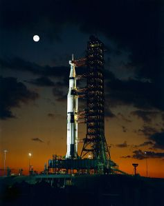 Apollo IV Saturn V was used for American manned lunar landing missions.  This a 1967 picture at the Kennedy Space Center.