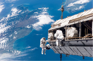 The International Space Station over New Zealand.  Commercial space missions delivering cargo to ISS are now a reality.  The next big step will be commercial space flights of astronauts.  At some later point, commercial space stations in space will become a reality as well.