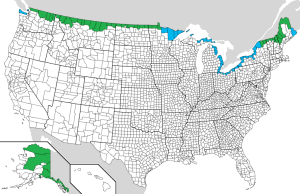 US Counties that share a land or water border with Canada