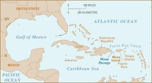 Map of Caribbean Showing Puerto Rico and the Dominican Republic