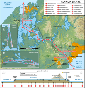 The Panama Canal is currently experiencing more traffic than it was designed for.  Originally, in 1934, it was designed for 80 million tons of shipping per year.  Today, it handles more than 3 times as much.  In addition, the constant increase in the size of containers and ships may at some point make this canal too narrow.  Courtesy of http:// http://en.wikipedia.org