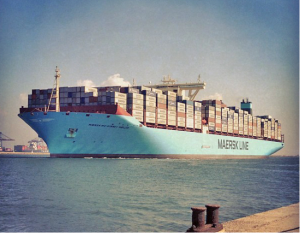Maersk triple E class ships are the largest ships ever built by cargo volume. This class of ships is longer than the maximum length of the American aircraft carrier Enterprise and not every sea port is equipped to handle them.  They are designed to carry 2,500 containers.  These ships are too big for the Panama Canal, but once completed, the Interoceanic Canal in Nicaragua should be able to handle them.  Courtesy of http:// http://en.wikipedia.org