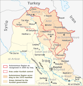 """Autonomous Region Kurdistan en"" by Maximilian Dörrbecker (Chumwa),derviative work by ilyacadiz - Autonome Region Kurdistan (Karte).png. Licensed under CC BY-SA 3.0 via Wikimedia Commons"