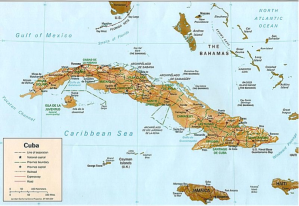Map of Cuba.  Cuba is located 90 miles away from Florida.  It is the largest of the Caribbean nations, with a population of over 11.3 million.  Approximately 50 % of the population is below 54 years old.  After 50 years of trade embargos, the door to business opportunities in Cuba for US businesses appears poised to open.  Courtesy of http://en.wikipedia.org