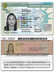 US Permanent Resident Card by U.S. Citizenship and Immigration Services (USCIS).Ahkitj at en.wikipedia [Public domain], from Wikimedia Commons