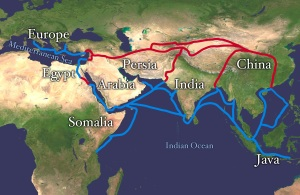 "The ancient Silk Road connected Asia, Africa, the Middle East and Europe by land and sea. ""Silk route"" by Whole_world_-_land_and_oceans_12000.jpg: NASA/Goddard Space Flight Centerderivative work: Splette (talk) - Whole_world_-_land_and_oceans_12000.jpg. Licensed under Public Domain via Commons"