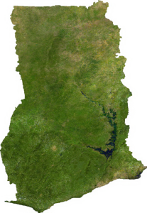 "Satellite picture of Ghana.  Incredible natural beauty! ""Ghana sat"". Licensed under Public Domain via Commons"