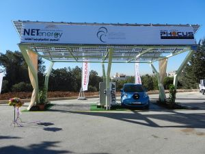 A solar powered charging station in King Hussein Business Park allows a driver to recharge his / her car.