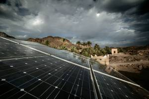 Moroccan government has prioritized the development of its renewable energy industry. This creates countless opportunities in infrastructure projects, safety, financing, security and other related industries. This picture shows solar cell panels in Eastern Morocco.   Courtesy of http:// http://en.wikipedia.org